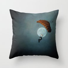 Skydiver's Moon Throw Pillow