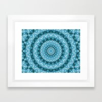Light Blue Kaleidoscope / Mandala Framed Art Print