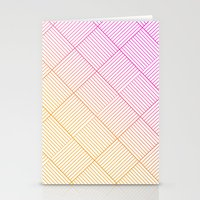 Woven Diamonds in Pink and Orange Stationery Cards