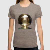 Brain Rain Womens Fitted Tee Tri-Coffee SMALL