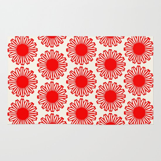 Vintage Flower-Red Area & Throw Rug