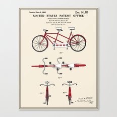 Tandem Bicycle Patent Canvas Print
