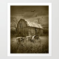 Sepia Toned Image of the Death of a Small Midwest Farm Art Print