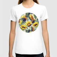 retro T-shirts featuring Sunflowers Forever by micklyn