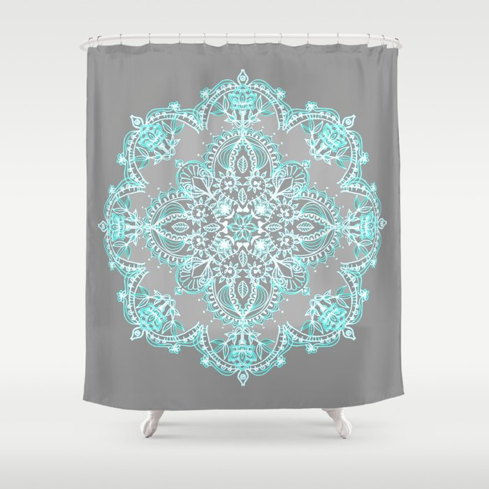 Teal and Aqua Lace Mandala on Grey Shower Curtain by Micklyn ...