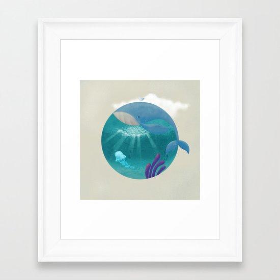 Whale & Jellyfish Framed Art Print
