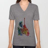 Watercolor And Fine Line… Unisex V-Neck