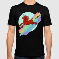 Cadmium Red Unicorn In M… Mens Fitted Tee Black SMALL