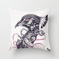 Cyborg Peacock Throw Pillow