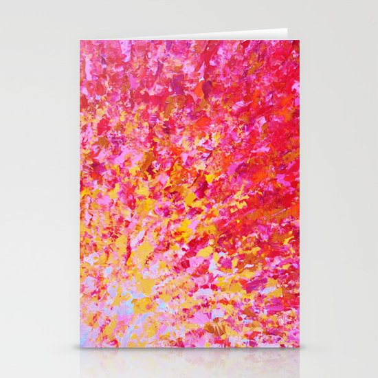 ROMANTIC DAYS - Lovely Sweet Romance, Valentine's Day Sweetheart Pink Red Abstract Acrylic Painting Stationery Card