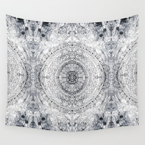 Black Amp White Mandala Amp Grey Blue Wall Tapestry By