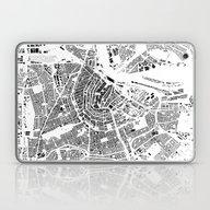 Laptop & iPad Skin featuring Amsterdam Schwarzplan by City Map Art