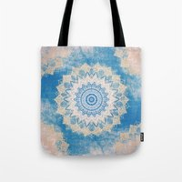 GOLD AND BLUE BOHOCHIC MANDALA Tote Bag