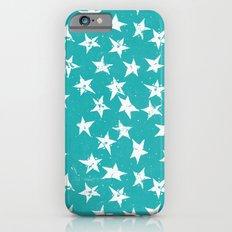 Linocut Stars - Verdigris & White iPhone 6 Slim Case