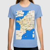 France map design Womens Fitted Tee Tri-Blue SMALL