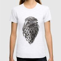 black and white ornate rendered tribal eagle Womens Fitted Tee Ash Grey SMALL