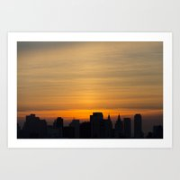 skyline brushstrokes Art Print