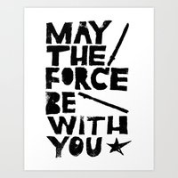 May the Force be with You - Linocut Star Wars Movie Poster Art Print
