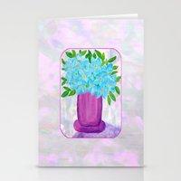 Magenta Vase with Aqua Flowers Stationery Cards