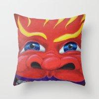 Red Face. Throw Pillow
