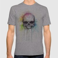 Skull Watercolor Paintin… Mens Fitted Tee Athletic Grey SMALL