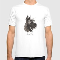 Scottish Terrier Profile Mens Fitted Tee White SMALL