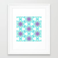 Framed Art Prints featuring Carribean Geometric Flower Dance by LaurenW Designs