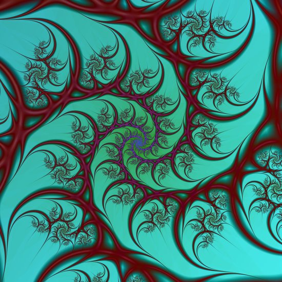 Red on Turquoise Spiral Art Print