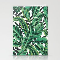 green Stationery Cards featuring Tropical Glam Banana Leaf Print by Nikki