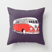 Retro Camper Van // Purp… Throw Pillow
