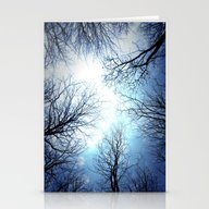 Black Trees Blue Sky Stationery Cards