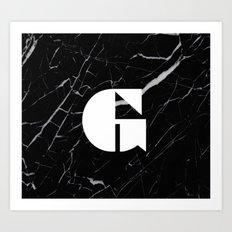 Black Marble - Alphabet G Art Print