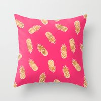 Gold Pineapples Tropical Pink Throw Pillow