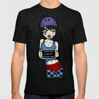Wanted Skater Roller Derby Mugshot by RonkyTonk Mens Fitted Tee Tri-Black SMALL