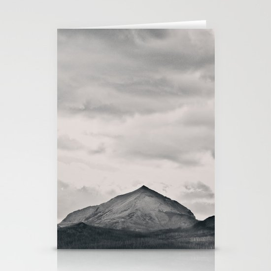 Mountain Peak and Plateau Black and White Stationery Card