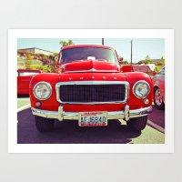 Red Volvo classic Art Print