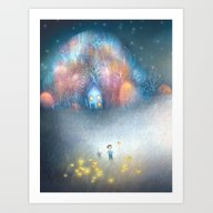 Art Print featuring A Field Of Fireflies by Lisa Evans