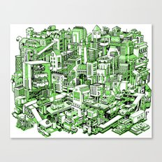 City Machine - Green Canvas Print
