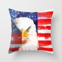 USA FLAG And Eagle Throw Pillow