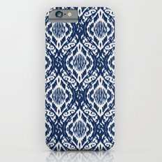 Damask Ikat: Navy and Off Ivory/White iPhone 6s Slim Case