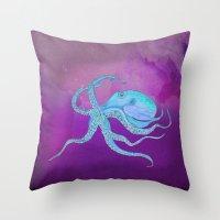 Octopus Swims Throw Pillow