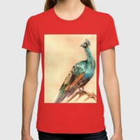 Peacock Womens Fitted Tee Red SMALL