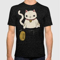 actual lucky cat Mens Fitted Tee Tri-Black SMALL