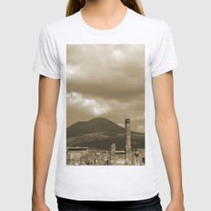 Mount Vesuvius looking down on Pompeii Womens Fitted Tee Ash Grey SMALL