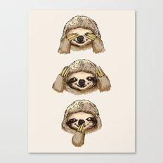 No Evil Sloth Canvas Print
