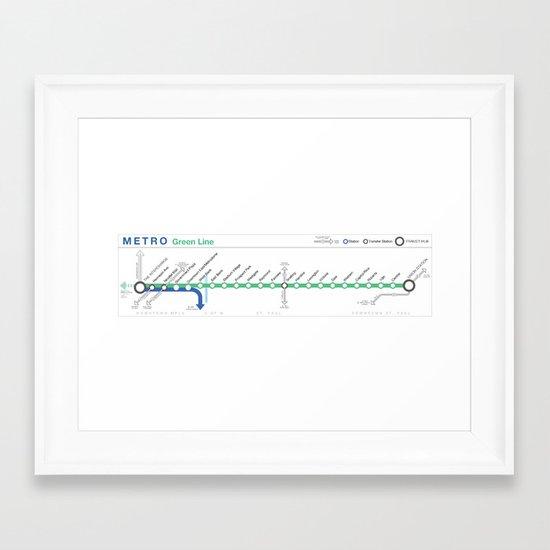 Twin Cities METRO Green Line Map Framed Art Print