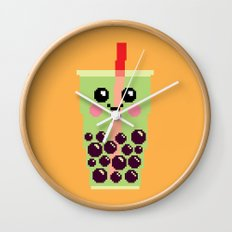 Happy Pixel Bubble Tea Wall Clock
