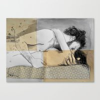 Lovers On A Patterned Ma… Canvas Print