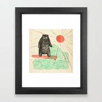 Bustin' Surfboards Bear Framed Art Print