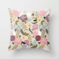 Folksy Garden 1  Throw Pillow